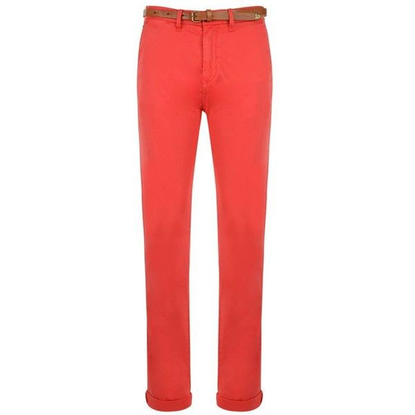 SCOTCH & SODA 34 Inch Slim Fit Belt Detail Chino ($89) ❤ liked on Polyvore featuring men's fashion, men's clothing, men's pants, men's casual pants and red