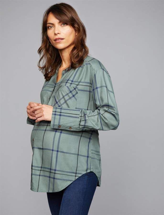 2173daeb677 Luxe Essentials Denim Button Front Plaid Maternity Shirt | Maternity ...