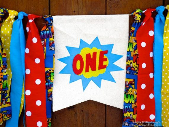 Superhero Birthday Banner Highchair High Chair Super Hero Red Blue Yellow One First Birthday Comic Party Super Star Cake Smash Photo Prop