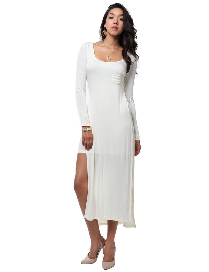 Casual long sleeve deep round neck fitted jersey maxi