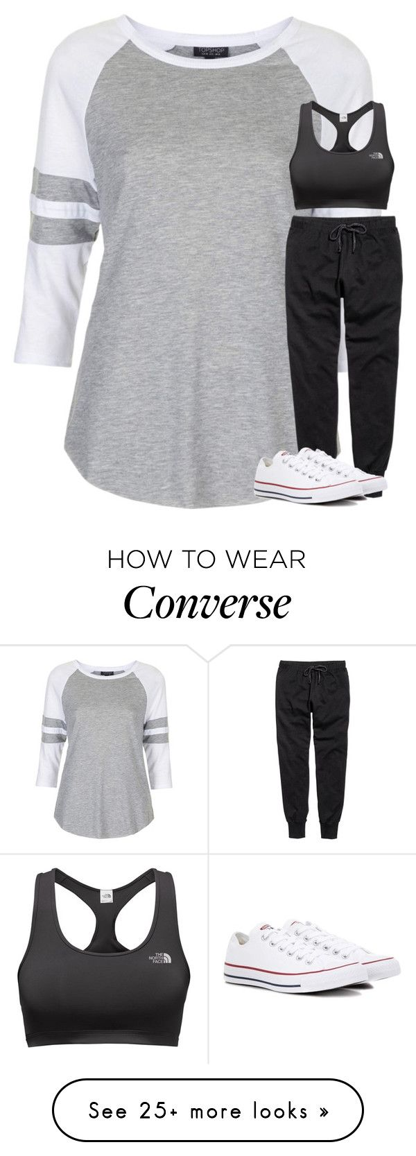 """Untitled #3256"" by laurenatria11 on Polyvore featuring Topshop, The North Face and Converse"