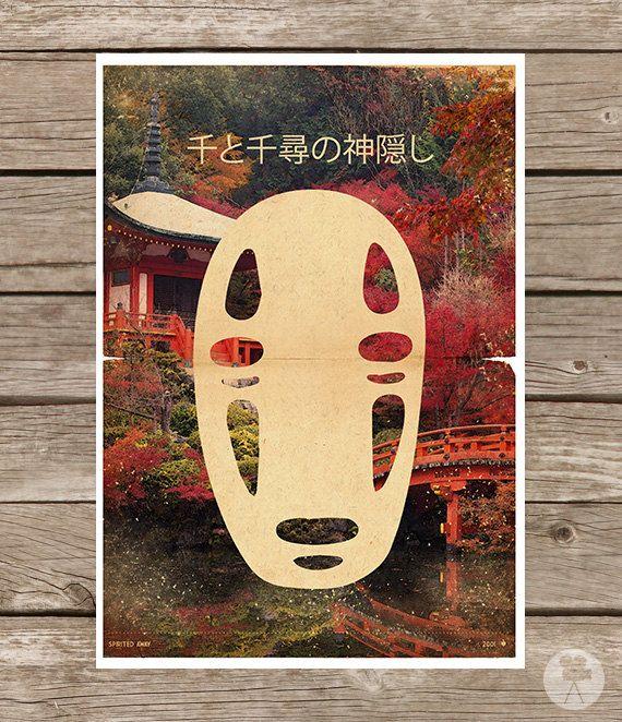 Spirited Away Movie Poster No Face Kaonashi - Vintage Style Magazine Retro Print Cinema Studio Watercolor Background - Pick your Size