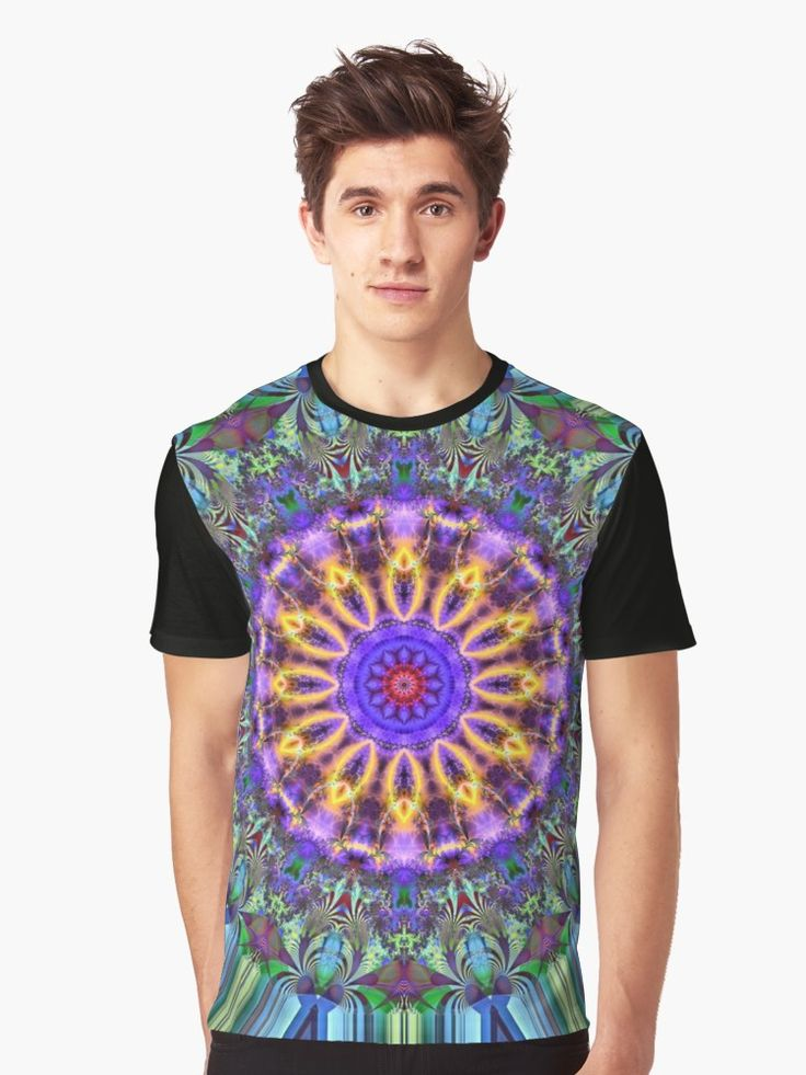 Inner Radiance T-Shirt by Terrella.  A colourful fractal mandala backed by lines of blue, green, brown & black. The mandala features glowing lines, flourishes & swirls. • Also buy this artwork on apparel, phone cases, home decor, and more.