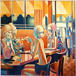 "Philippe Derome, Le Flore, oil on canvas, 1974 - The Café de Flore, located at the corner of Boulevard Saint-Germain and Rue Saint-Benoît, in Saint-Germain-des-Prés, in the 6th arrondissement, is one of the oldest and the most prestigious coffeehouses in Paris, celebrated for its famous clientele.  Café de Flore appeared in the 1963 film The Fire Within.  The café is mentioned in the 1975 song ""Et mon père"" by Nicolas Peyrac.  Amanda Lear filmed her music video ""Égal"" in Café de Flore in…"