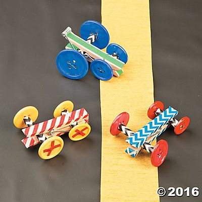 DIY clothes pin race cars