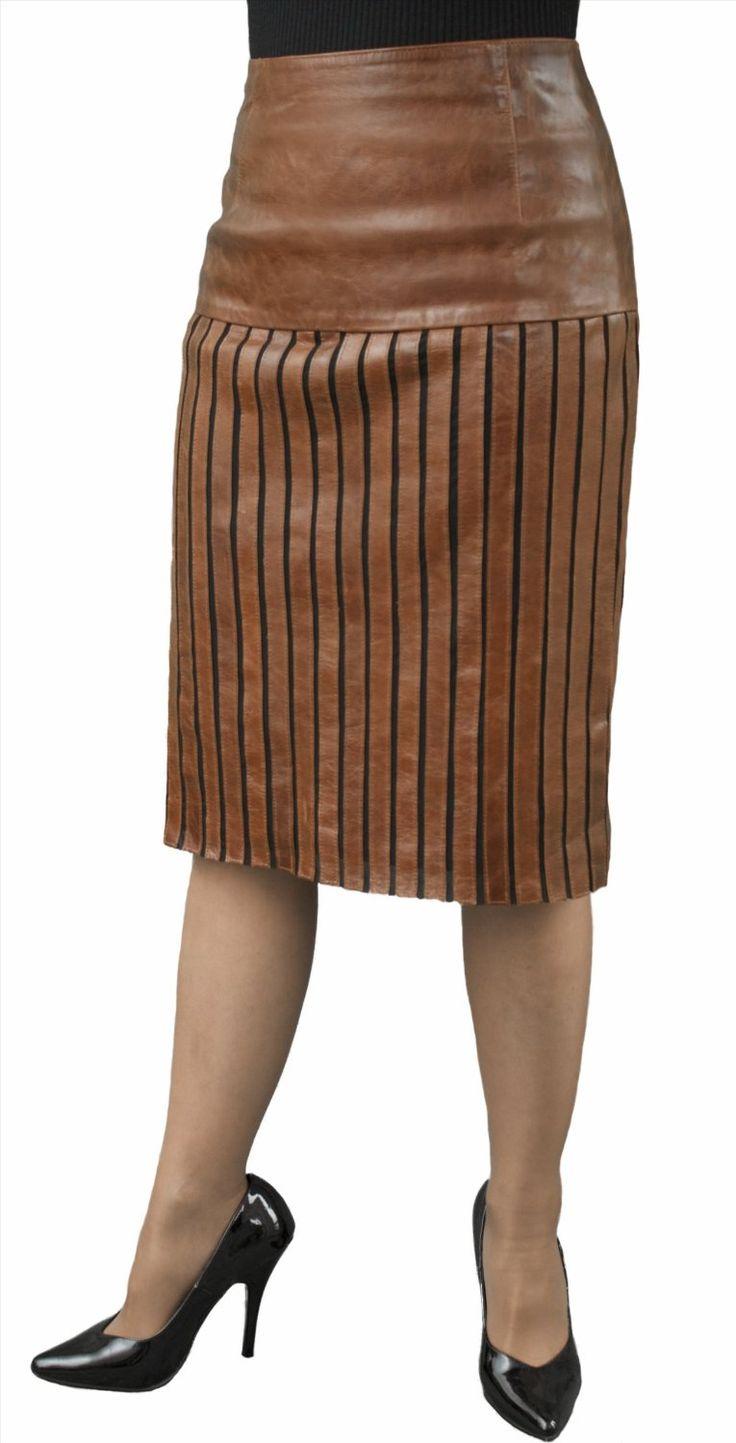 Ashwood Leather Strip & Lycra Skirt, Knee Length (Black, Cherry Red, Tan) - Ladies/Womens: Amazon.co.uk: Clothing