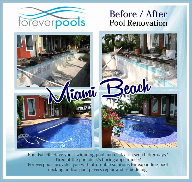 Before / After - MIAMI BEACH: Pool Facelift Have your swimming pool and deck area seen better days? Tired of the pool deck's boring appearance? Foreverpools provides you with affordable solutions for expanding pool decking and/or pool pavers repair and remodeling. We can transform your existing pool deck into a pool paradise you'll be pleased to showcase. http://www.foreverpools.com/project/before-after-miami-beach/ #poolrenovations #poolremodeling#southbeachpool #foreverpools#poolbuilder…