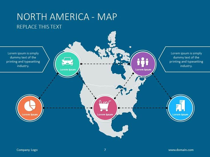 north american map with solid blue background map powerpoint