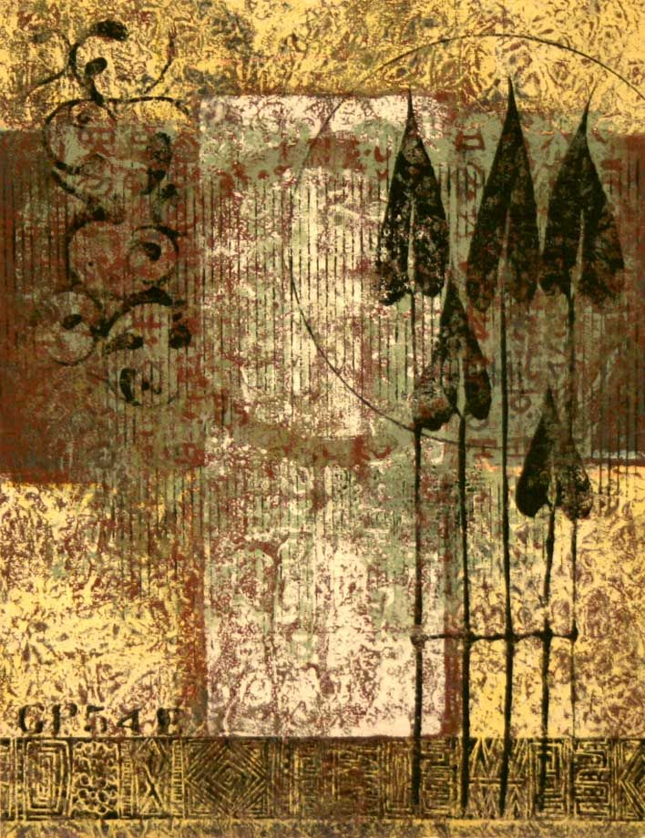 """Living the Promise, by Anne Moore, monotype, 12.5""""x10"""""""