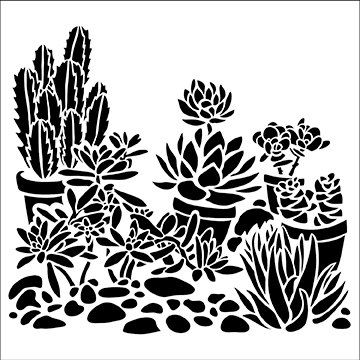 Desert Garden 6 x 6 Bastler Workshop Schablone (520S) - für Cookies, Kuchen…