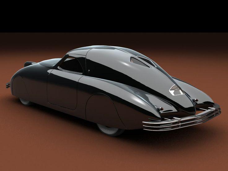 1938 Phantom Corsair, streamlined sleek aerodynamic stylish retro futuristic art deco noir