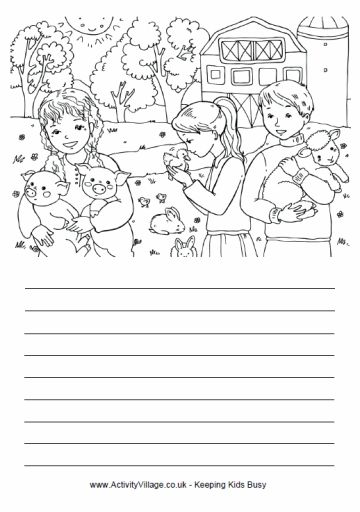 On the farm story paper and coloring page