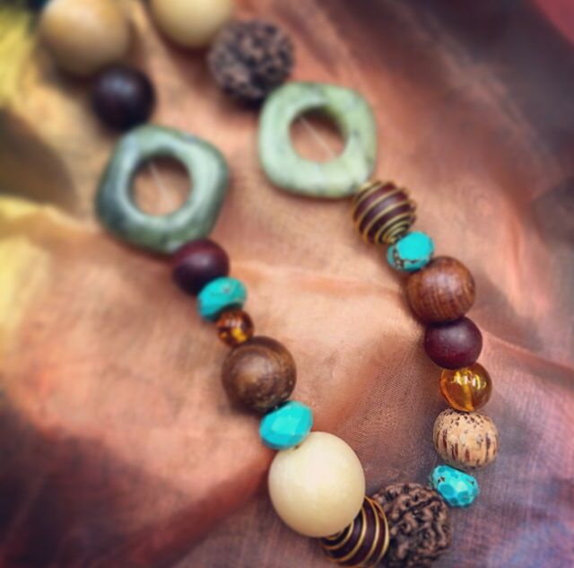 Natural wood textures with Turquoise and Amber #design #unique #jewellery #handmade #GGJewellery