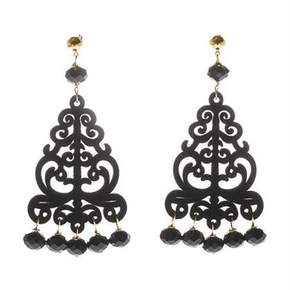 Orecchini chandelier in velluto nero con cristalli