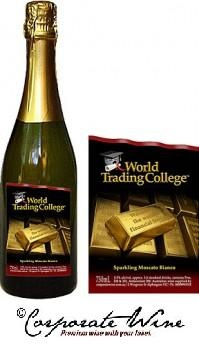 Presentation bottles of Bronze Range Sparkling Moscato look striking with Custom Designed Labels from Corporate Wine.