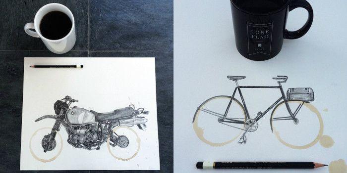 По следам от кофейной кружки: оригинальные рисунки от американского художника