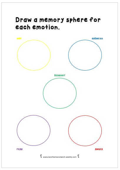 Social Work worksheet inspired by Pixar's Inside Out. Draw a memory sphere for each emotion.