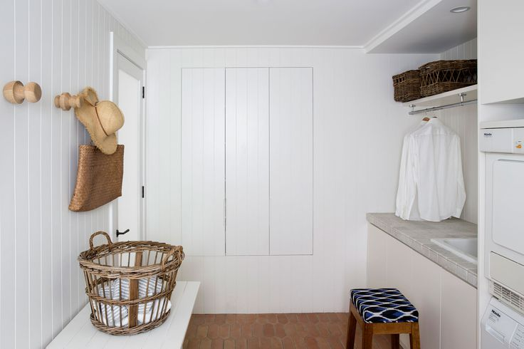 V-groove wall, bench & hooks for laundry