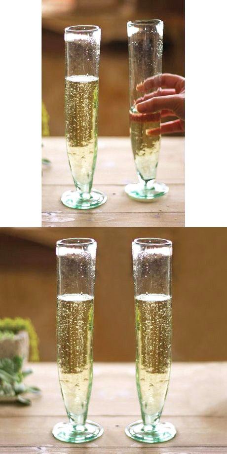 Recycled Glass Champagne Flutes - Set of 6 | dotandbo.com