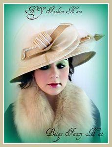 Beige Ivory Dress Formal Fancy Women's Hat Church Hats Beth