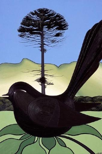 Canterbury Garden Bird by Don Binney.  (1970). Crayon wax and paper.
