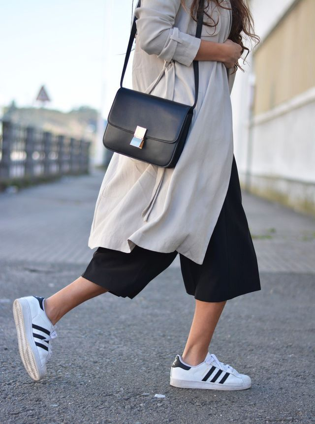 culottes + sneakers = street style...  For more styling tips and gorgeous fashion check out: https://www.sizeable.com.au/