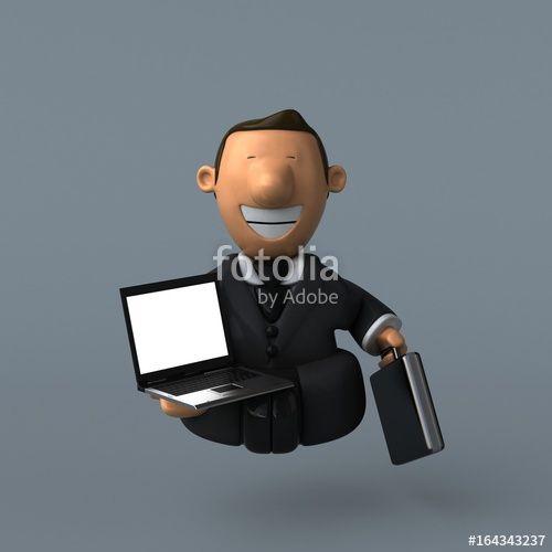 """Téléchargez la photo libre de droits """"Cartoon businessman - 3D Illustration"""" créée par julien tromeur au meilleur prix sur Fotolia.com. Parcourez notre banque d'images en ligne et trouvez l'image parfaite pour vos projets marketing !"""