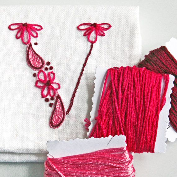 Monogram Crewel Embroidery Kit  DIY Pattern pdf  Monogram V is for Valentine instant download tutorial ring bearer pillow christening gown