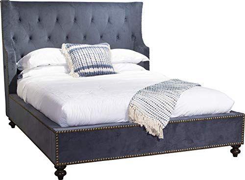 New Bombay Sir George Velvet Tufted Upholstered King Bed Cliff