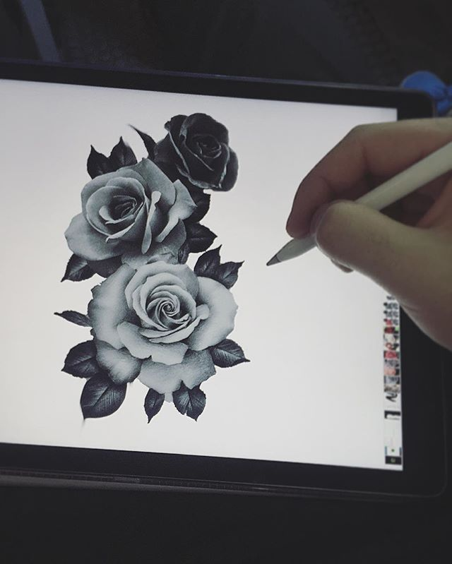 draw, disegno, sketch, roses, tattooo, tatuaggio, tre rose, three roses, realistic, black and white, digital art, rose realistiche, sketch for tattoo, sketch per tatuaggio, art, bianco e nero, arte digitale, tatto by Edwin Basha