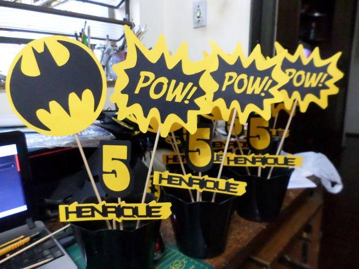 Enfeite de mesa de aniversário, tema Batman.