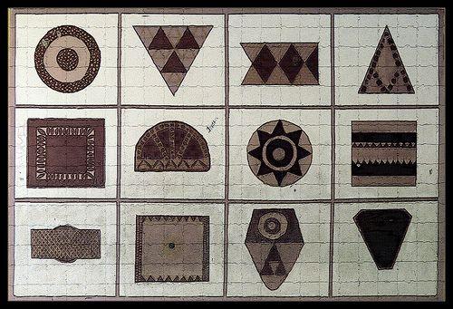 Pintaderas guanches: sellos de arcilla que se estampaban en la piel y tambie marcaban las propiedades.