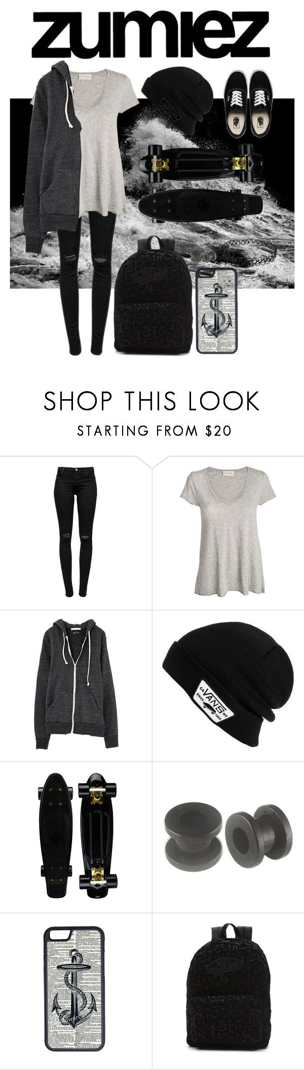 """""""Zumiez obsessed skater inspired look"""" by mxxrtyr ❤ liked on Polyvore featuring J Brand, American Vintage, Vans and CellPowerCases"""