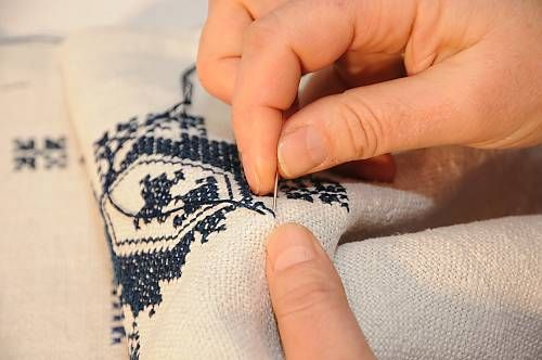 Zmijanje embroidery is a specific technique practised by the women of Zmijanje villages in Bosnia and Herzegovina. Traditionally, Zmijanje embroidery is used to decorate female costumes and household items, including wedding dresses, scarves, garments and bed linen. The main characteristic is the use of a deep blue thread, handmade with vegetable dyes, to embroider improvised geometrical shapes. Source: UNESCO