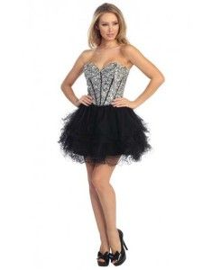 Black and silver embellished short corset puffy prom dresses - poofy dresses