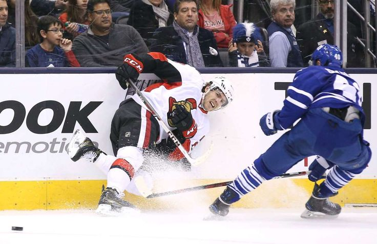 Iced out: Ottawa Senators left wing Mike Hoffman (68) loses his balance after playing the puck against the Toronto Maple Leafs in Toronto on March 5, 2016. The Senators beat the Maple Leafs 3-2. - © Tom Szczerbowski/USA TODAY Sports