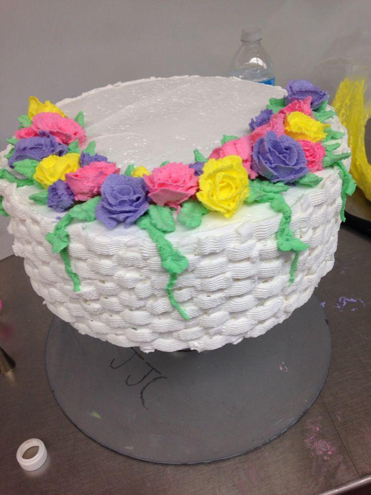 Basket weave cake....frosting was off   Basket weave cake ...