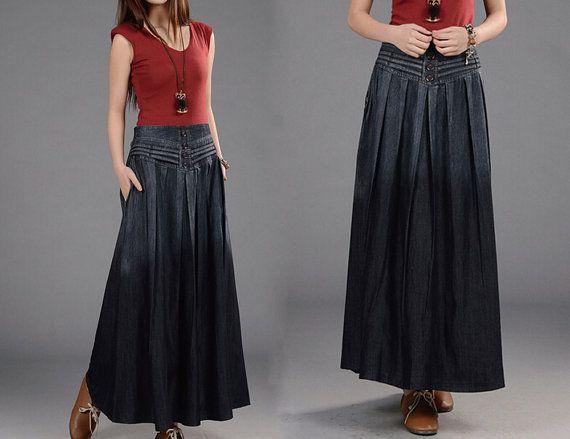 2 Colors Women Black Gradient Denim Skirts Long Maxi Half Skirt High Jean Skirt / Pleated Side Pocket Skirt Clothing Vintage Skirt on Etsy, $49.00