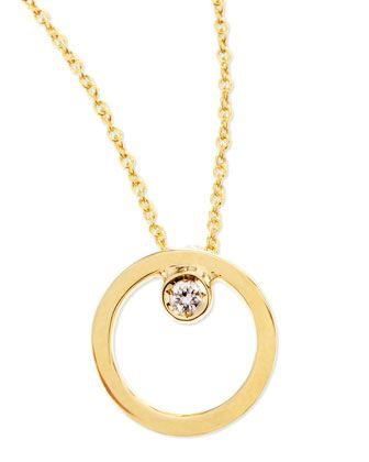 18k Yellow Gold Circle Single-Diamond Necklace by Roberto Coin at Neiman Marcus.