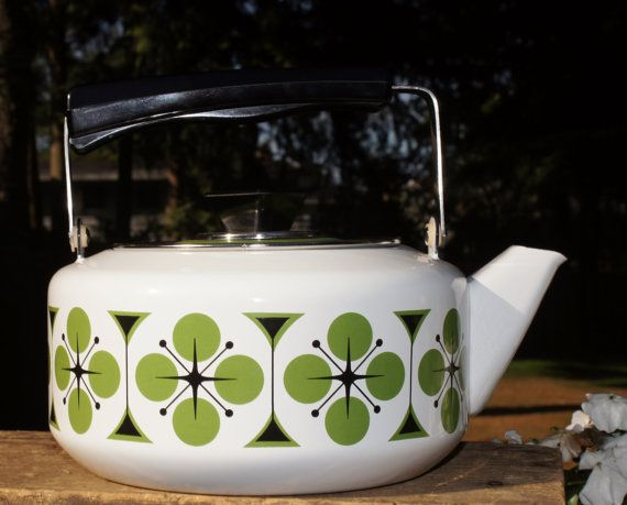 """1960s Norwegian enamel teapot with olive and avocado green pattern. 10"""" diam. x 4"""" h.  Sold by StarShineVintage (Etsy).  $85."""