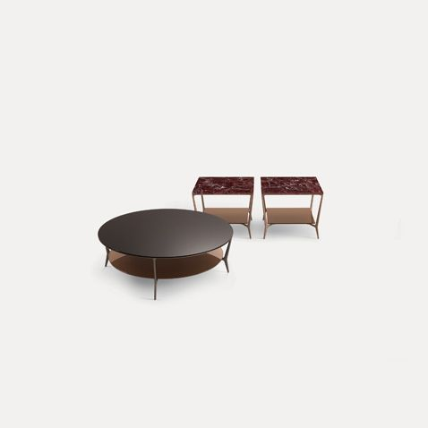 two squared coffee tables with copper lacquered aluminum, rosso lepanto marble top. Round coffee table with bronze structure, moro glossy lacquered glass top
