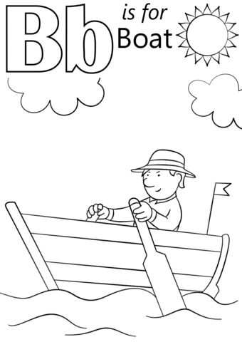Letter B is for Boat coloring page from Letter B category