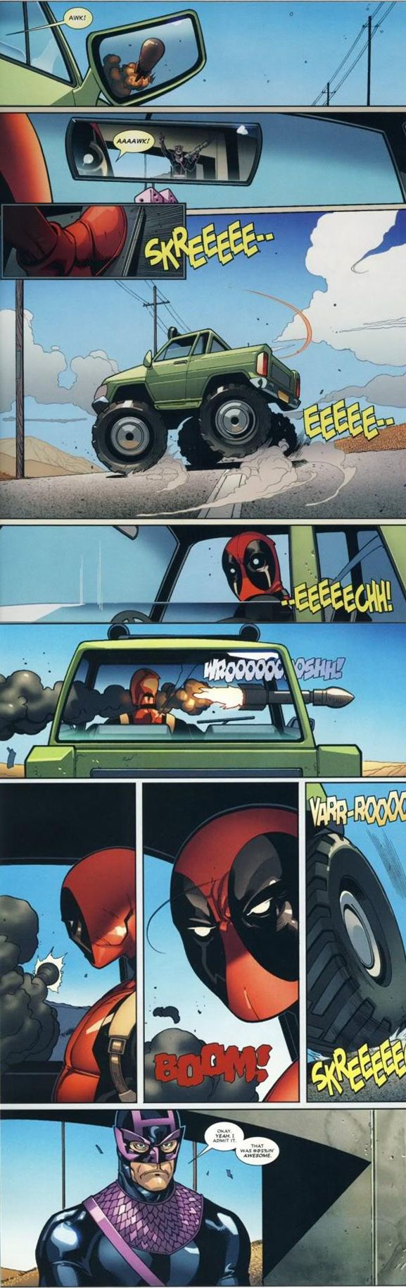 First things first, that's not actually Hawkeye. It's Bullseye. Second thing to note, Bullseye never misses his targets. So it's pretty impressive that Deadpool managed to evade one of Bullseye's missiles. Just ask Bullseye.