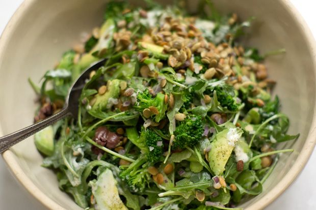 An Ideal Lunch Salad Recipe - There's all sorts of good stuff in this salad - chickpeas, celery, black olives, pepitas, avocado, blanched broccoli. Full of crunch & substance, it's a salad that can stand up to a few hours in a container without collapsing.  - from 101Cookbooks.com