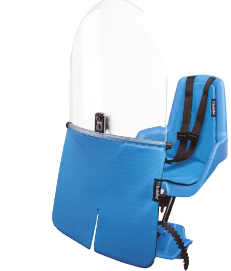 Bobike Mini Classic bicycle safety seat in True Blue. Suitable for children upto 3 years of age or 15kg.  Bobike. Simply Safe. www.bobike.com