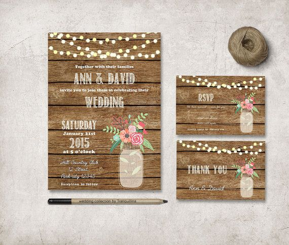 Rustic Wedding Invitation Printable Mason Jar by tranquillina