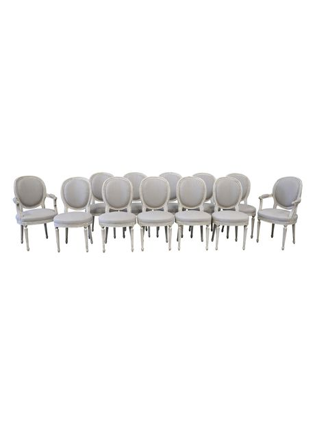 French Louis XVI Style Medallion Painted Dining Chairs, Set Of 12