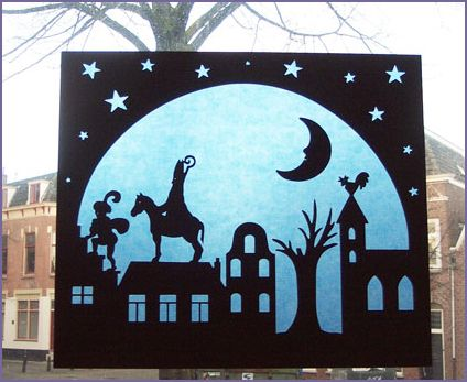 Sinterklaas - i'd love to paper cut something like this for our holiday windows...