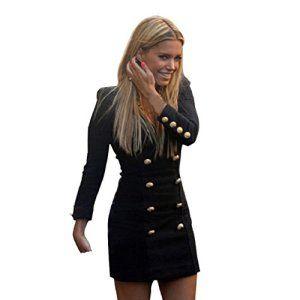 Chianrliu Femme Nouvelle Slim Long Manches Boutons Occasionnels Bodycon Mini Robe De Cocktail (36)