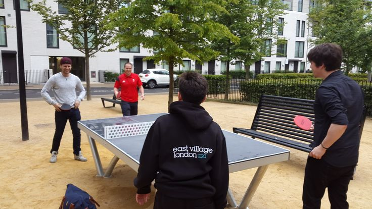 Jazza John and Matt Grayson from The Wharf take on Table Tennis champs Paul Drinkhall and James Smith in East Village!